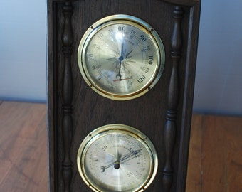 Vintage SPRINGFIELD - Weather Station w/ American Eagle -Thermometer-Barometer - 1960's - Federal Style