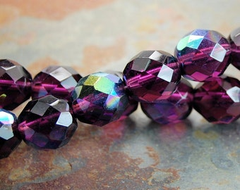 AB Mulberry 8mm Czech Beads Faceted   -25