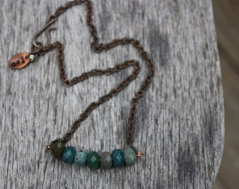 Faceted Indian agate and brass necklace