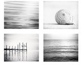 Black and White Photography Set - Four Coastal Photographs 4 - beach ocean photo set grey gray light sea seashore wall prints modern artwork