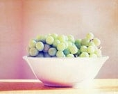 "Fruit Photography - green grapes food print kitchen wall art pink pastel photo white bowl beige photograph - 11x14, 8x10 Photo, ""Grapes"""