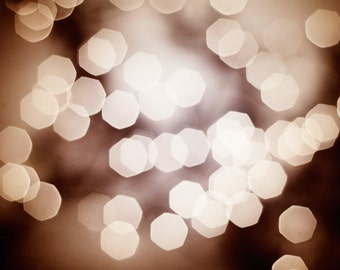 "Bokeh Photography - dark brown abstract sparkle neutral beige sparkly print circles modern wall art fine art photograph, ""Inner Glow"""