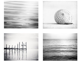 Black and White Photography Set - Four Coastal Photographs 4 - beach ocean photo set grey gray light sea seashore wall prints modern artwork