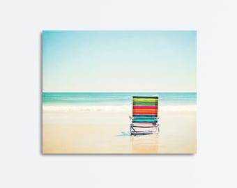 "Beach Canvas Art, aqua colorful coastal photography, light blue teal turquoise red orange green, nautical wall art seashore, ""Beach Chair"""