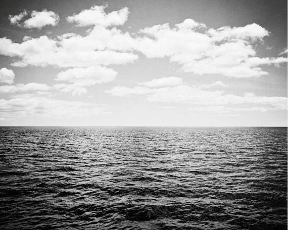Black and White Ocean Photography landscape print seascape
