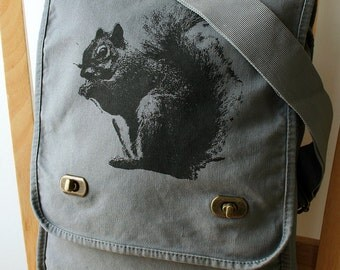 Squirrel Canvas Messenger Bag