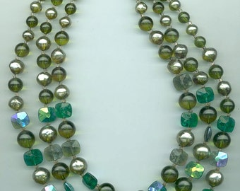 Fantastic 3-strand Marvella necklace -- lucite and glass beads in greens and silvery grey