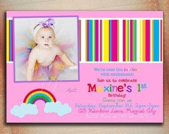 Over The Rainbow Birthday Invitation, Rainbow Birthday Invite, Rainbow Stripes Birthday Invite-Digital File You Print