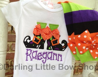 Halloween Outfit -- Baby Girl bodysuit and Leg Warmers -- Witch Shoes -- personalized with her name