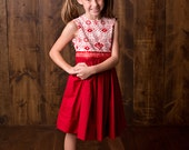 Girls Red Party Dress Special Occasion Holiday Red and Cream Twirl Dress in Size 4 - 6 by Little Miss Prim