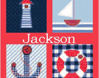 Nautical 4 with Name Cross Stitch Pattern