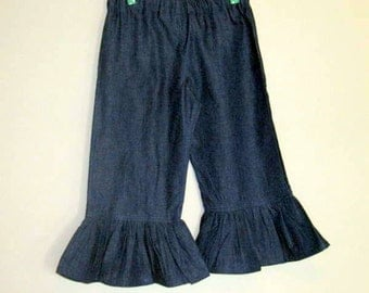 Girls Ruffle Pants Denim Size 1T to 8 Boutique Style Ruffle Pants Jeans Stretch Denim Dark Blue
