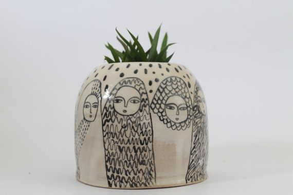 RESERVED LISTING - Pilgrims - Ceramic Pot - Black and White