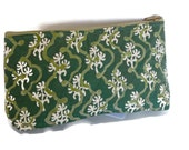 Hand block printed cotton quilted cosmetic pouch small bag case green wavy lines off white floral print zipper