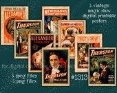 Vintage Magic Show Posters--instant digital download--halloween magic magician crystal ball Clipart--PNG files  1313