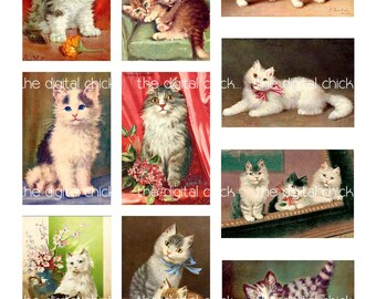Digital Clipart, instant download, Vintage Cat Kitten Kitty, angora, tabby, kitties playing--Digital Collage Sheet (8.5 by 11 inches)   685