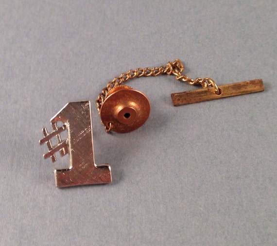 items similar to vintage silver number one tie tack