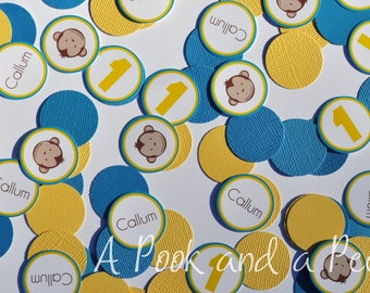 Blue and Yellow Boy Monkey Personalized Confetti