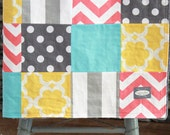 Girl Baby Blanket - Coral, Aqua, Grey and Yellow Patchwork Blanket
