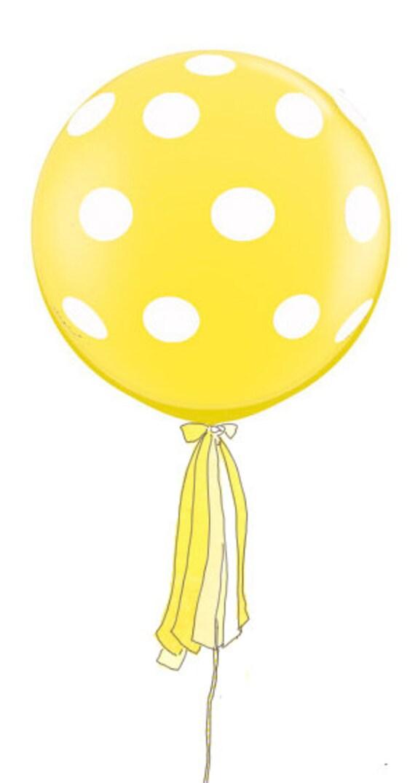 3 Foot Round Designer Balloon Yellow with White Polka Dots w/Tassel