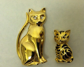 Double Meow - Two Vintage 60s Cat Brooches