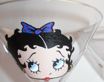 Betty Boop Martini Glass Hand Painted Made to Order Red and Blue Bow in Hair