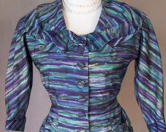 vintage late 1940's blue purple striped French fitted jacket XS/S