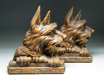 vintage SYROCO scottie dog bookends , popular when fdr had his dog fala .
