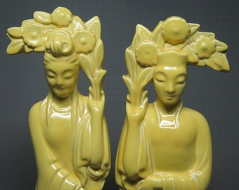 tall ORIENTAL figure pair maybe haeger , shawnee or redwing , a california pottery mid century modern