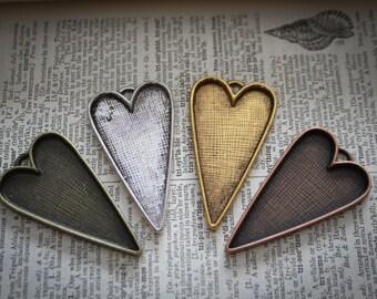 "6 Heart Folk Photo pendant Frame charms silver, Bronze, copper  Pendant tray  - bezel for resin - 2.13"" tall -(53.5mm x 30mm)"