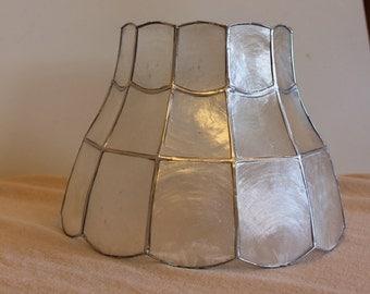 Vintage Handmade Capiz Shell Lampshade- Silver paint