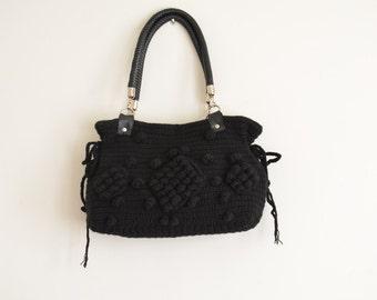 Crochet Bag // Fall fashion-Gifting wonderland-Handmade knit bag in black color