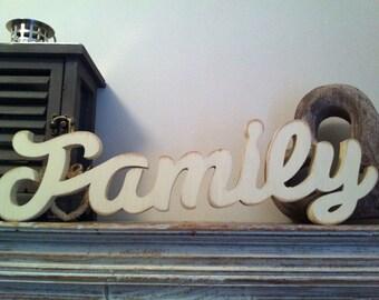 10cm Handpainted Freestanding Script Letters - Family