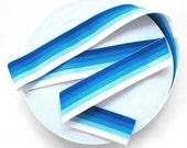 "2"" Solid Blue Gradient Stripes Stretch Elastic Band"