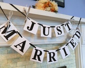Just Married Wedding Reception Decoration or Photo Prop Great for the Back of Your Car Wedding Garland You Pick the Colors