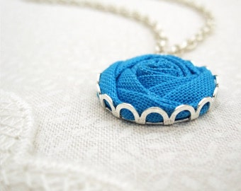 Something Blue Necklace - Water Rose Fabric Flower - Turquoise & Silver