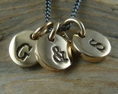 """Initial Necklace - Three Bronze Letter Charms on 18"""" Gunmetal Chain - Initial Charm Necklace"""