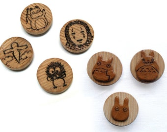 Unique Round Wooden Magnet Set - My Neighbor Totoro or Spirited Away