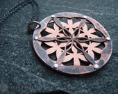 Double Layer Flower of Life Pendant - oxidised copper and sterling silver - Handcrafted Sacred Geometry