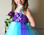 Teal Purple Turquoise Flower girl or Party Tutu Dress---up to teen
