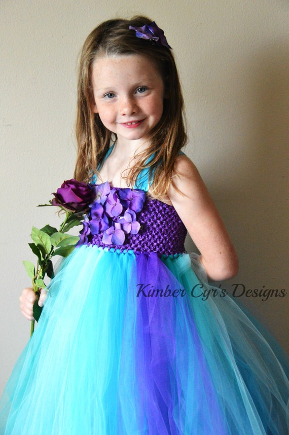 CLOSEOUT sale: Teal Purple Turquoise Flower girl or Party Tutu