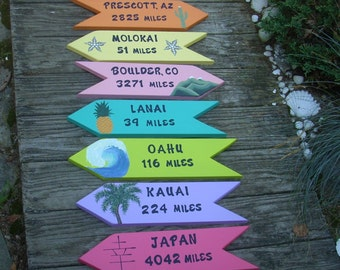 PERSONALIZED WOODEN SIGNS, Set of 7 Custom Signs, Directional Signs, Destination Signs, Arrows, Signs, Backyard Art, Yard Art, Beach Signs