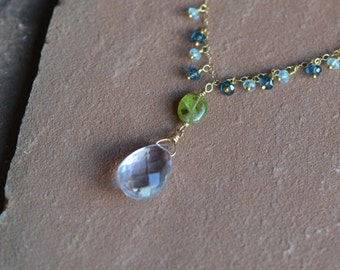 Pink Amethyst Necklace, Mixed Gemstones with Peridot and Blue Topaz, Delicate Gold Chain