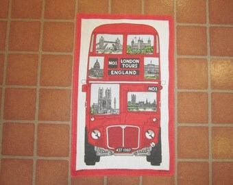 """Pictoral Bus """"London Tours"""" Irish Linen Towel by Ulster"""