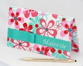 Pink Floral and Turquoise Checkbook cover, Personalized  checkbook case, More than 200 fabrics in stock, Custom Made by GisellasDesigns