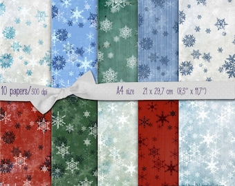 Christmas Gift wrap paper green  red white snowflakes- set of 10 -  scrapbooking ,  Digital Collage Sheets  to INSTANT  Download (Tp28)