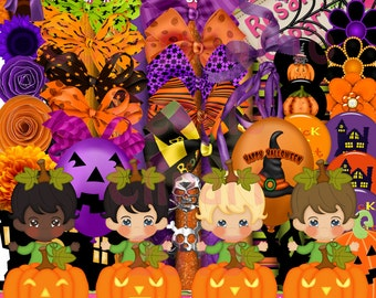 Pumpkin Babies Scrap Kit Clipart (Digital Download ZIP File)