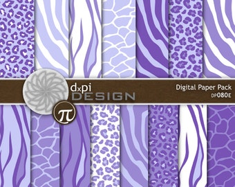 Purple Animal Prints - Digital Paper & Printable Designs - zebra, leopard, tiger, giraffe scrapbook background - Instant Download (DP080E)
