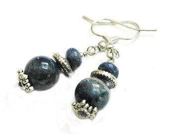 Sodalite Blue Beaded Pierced Earrings, Blue with Silver, Natural Gemstones, Casual Style Accessories