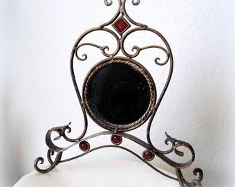 SALE 50% OFF Art Nouveau Ornate Mirror Bronze Sculpture Deco Vintage Vanity Dresser Tabletop Railings Metal Stand Home Royal